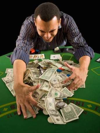 Poker table with player and Money