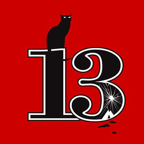 Black cat and number 13