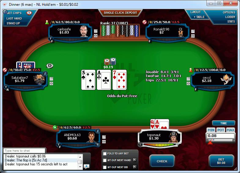 Screenshot van de poker office interface