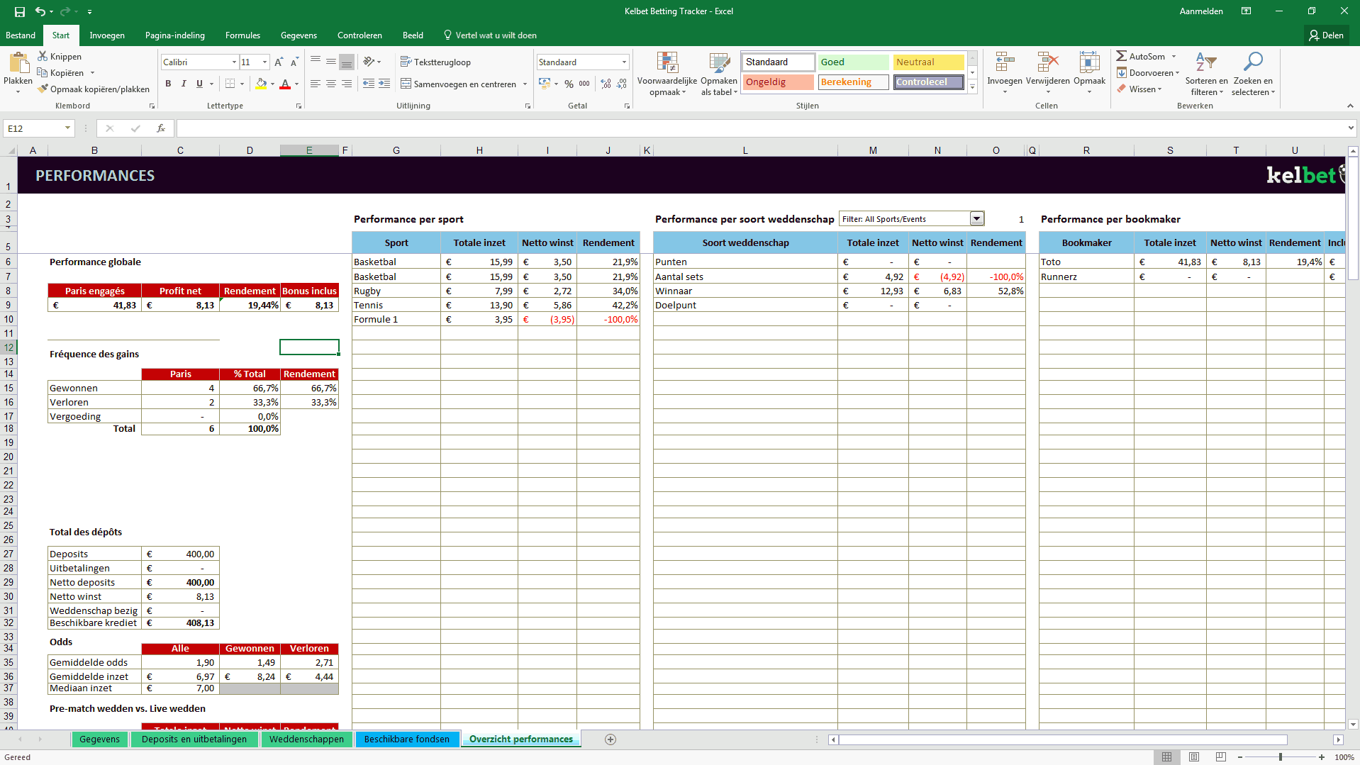 Excel betting tracker screenshot 4